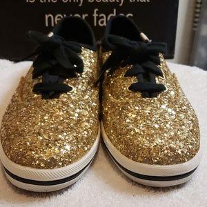 Keds Kate Spade Gold Glitter shoes
